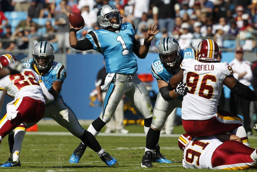 Carolina Panthers QB Cam Newton was the main reason why the Washington Redskins went home losers Sunday afternoon. (AP Photo/Chuck Burton)