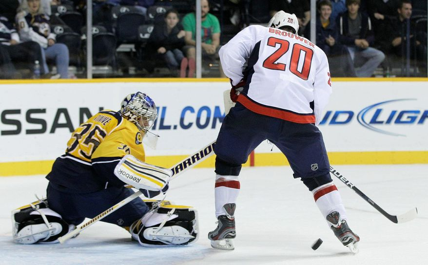 Capitals right wing Troy Brouwer is most effective pounding the crease and keeping goalies preoccupied. (Associated Press)
