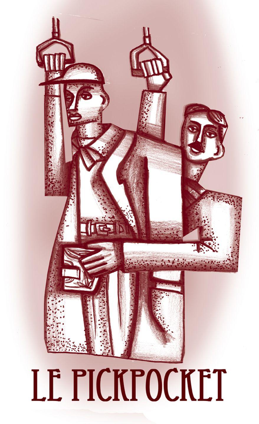 Illustration: Le Pickpocket by John Camejo for The Washington Times