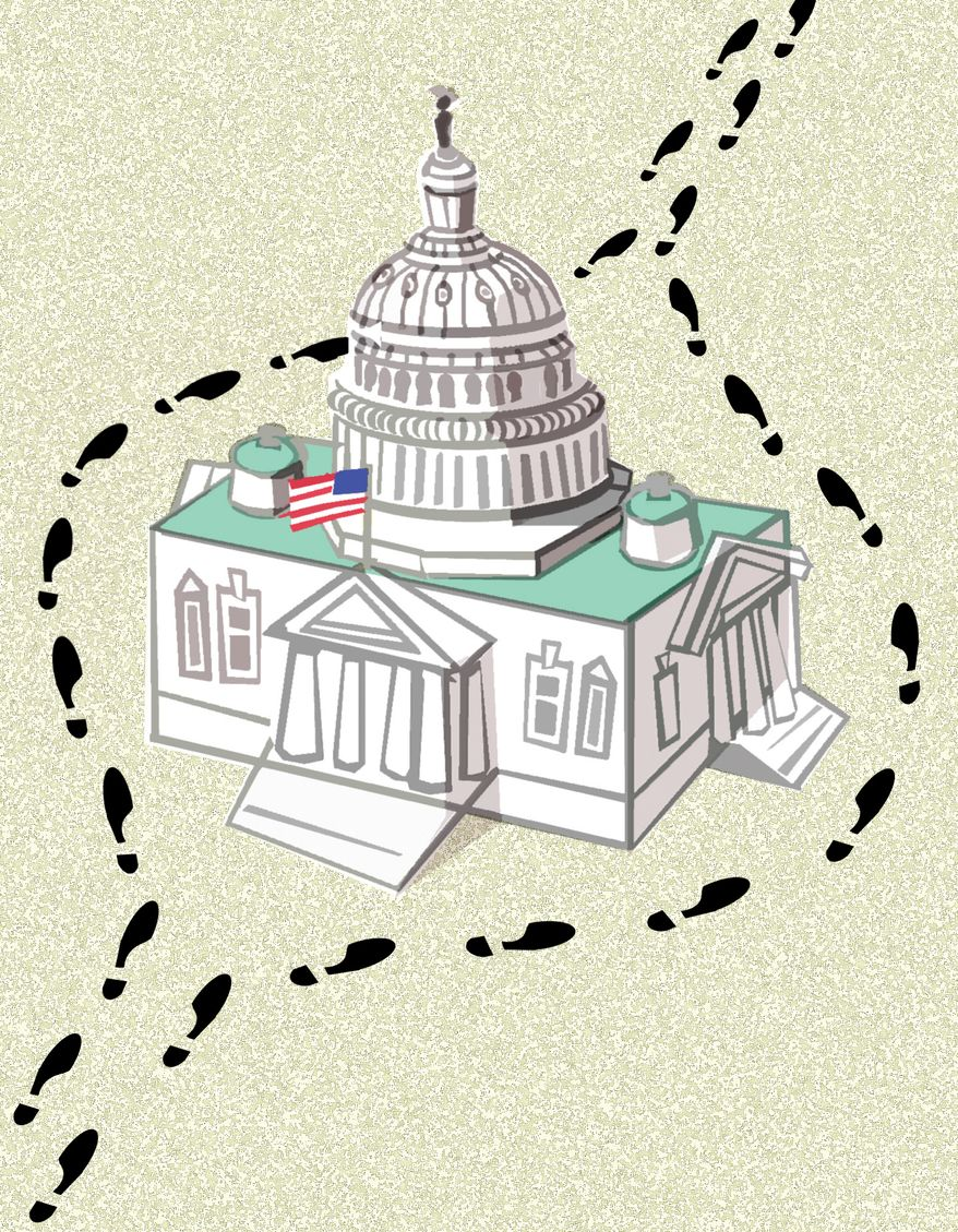 Illustration: Congressional run around by Alexander Hunter for The Washington Times