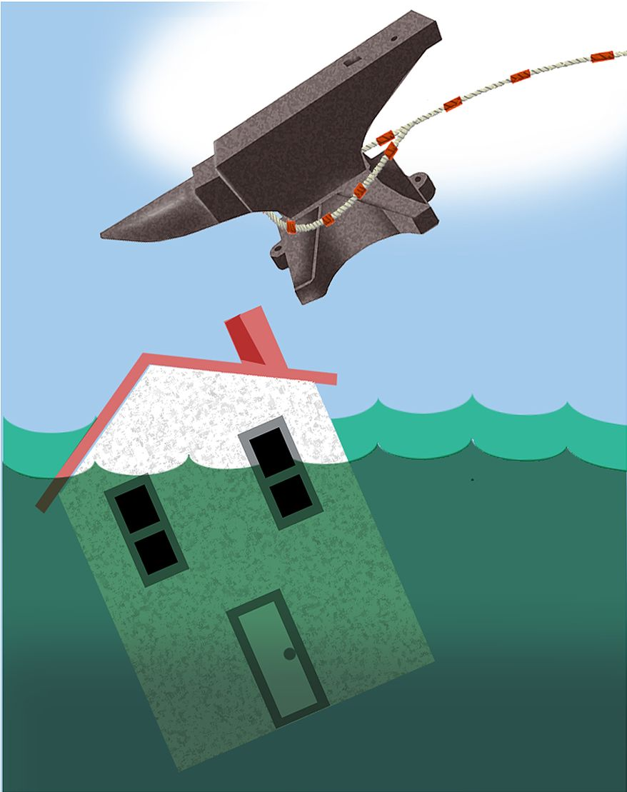 Illustration: Underwater mortgage by Alexander Hunter for The Washington Times