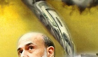 Illustration: Bernanke's twist by John Camejo for The Washington Times