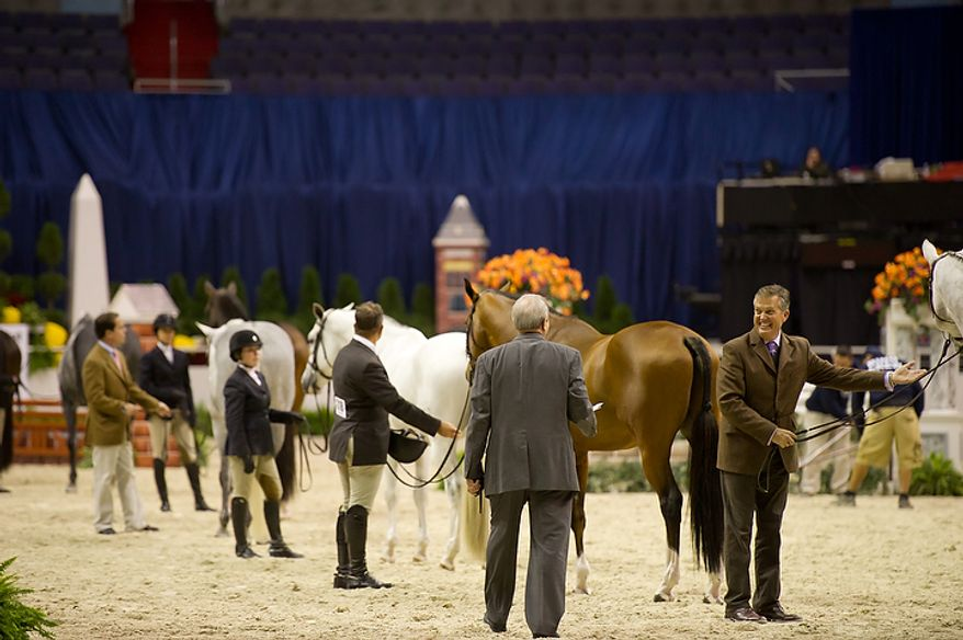"Bill Schaub (right) shows off his horse ""Photo Shoot"" at the annual Washington International Horse Show on Oct. 25, 2011, in D.C. The event runs Oct. 25-30 at the Verizon Center and features top riders and horses competing from the U.S. and abroad. (Andrew Harnik/The Washington Times)"