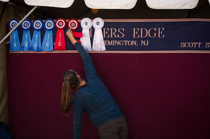 Jamie Anderson of Willington, Fla., who works for horse owner Scott Stewart, hangs up prize ribbons on their stables outside the Verizon Center at the annual Washington International Horse Show on Oct. 25, 2011, in D.C. The event runs Oct. 25-30 at the Verizon Center and features top riders and horses competing from the U.S. and abroad. (Andrew Harnik/The Washington Times)