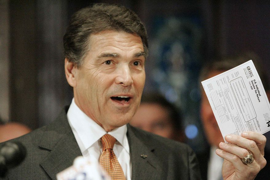 Republican presidential candidate Texas Gov. Rick Perry holds up the tax form he says that Americans would fill out as he outlined a broad economic proposal of a flat 20 percent income tax rate during a news conference Tuesday, Oct. 25, 2011, at the State House in Columbia, S.C. (AP Photo/Mary Ann Chastain)