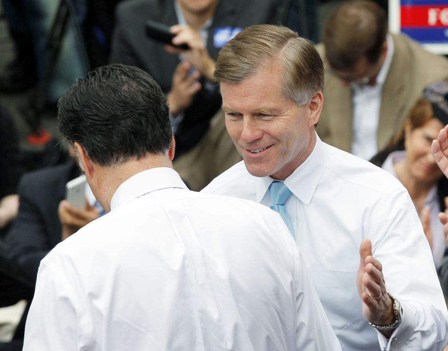 ASSOCIATED PRESS Virginia Gov. Bob McDonnell (right), with Republican presidential candidate Mitt Romney in Fairfax on Wednesday, faces ballooning Medicaid costs in his state.