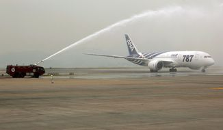 "A traditional spray of water marks the arrival of an All Nippon Airways Boeing 787 ""Dreamliner"" to celebrate the model's inaugural commercial flight from Tokyo's Narita International Airport to Hong Kong International Airport on Wednesday, Oct. 26, 2011. (AP Photo/Vincent Yu)"
