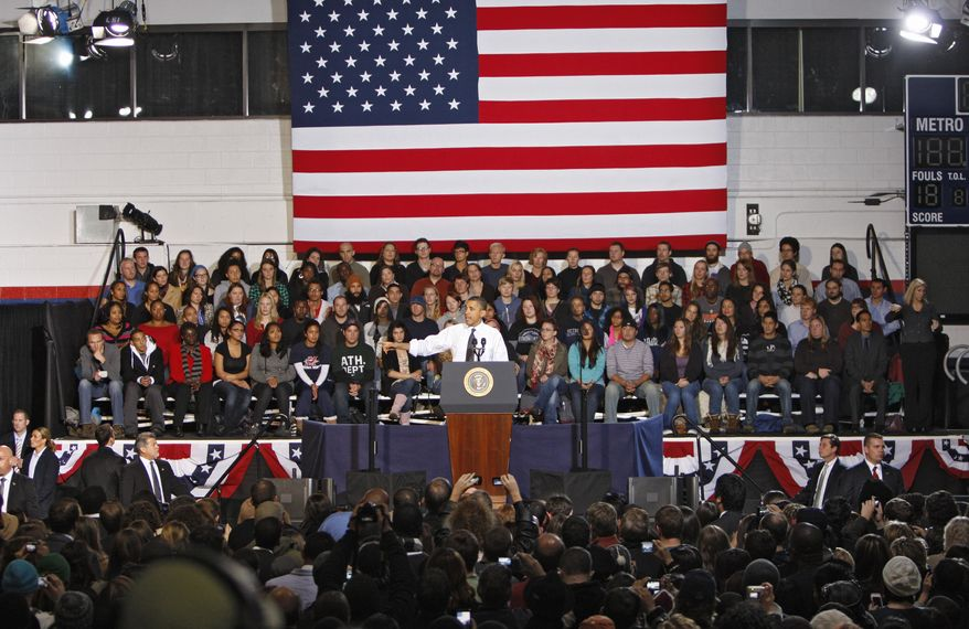 President Obama speaks to students and faculty at the Auraria Events Center at the University of Colorado at Denver on Wednesday, Oct. 26, 2011. (AP Photo/Ed Andrieski)