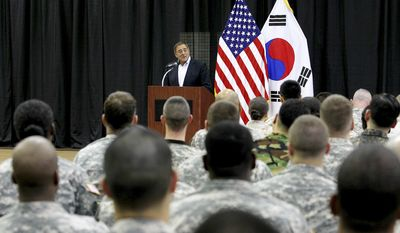 U.S. Secretary of Defense Leon E. Panetta speaks to U.S. military personnel at the Yongsan military base in Seoul on Wednesday, Oct. 26, 2011. (AP Photo/Korea Pool)