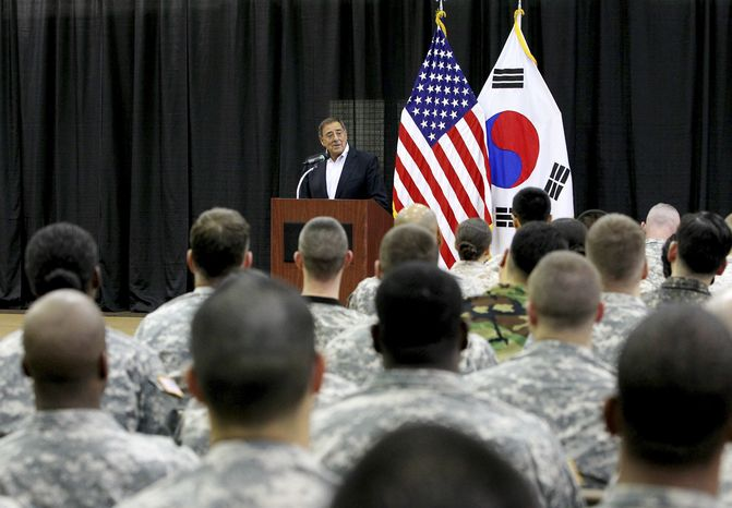 U.S. Secretary of Defense Leon E. Panetta speaks to U.S. military personnel at the Yongsan military base in Seoul on Wednesday, Oct. 26, 2011. (AP Photo/Korea Pool)