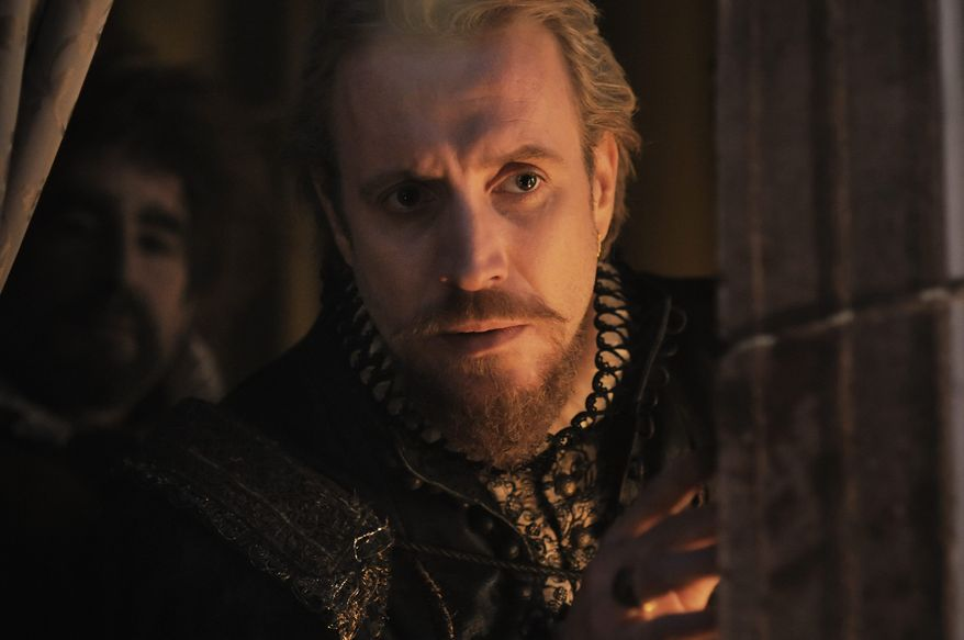 """Rhys Ifans portrays Edward de Vere, the 17th Earl of Oxford, who some claim was the actual author of Shakepeare's works, in """"Anonymous."""" (Associated Press)"""
