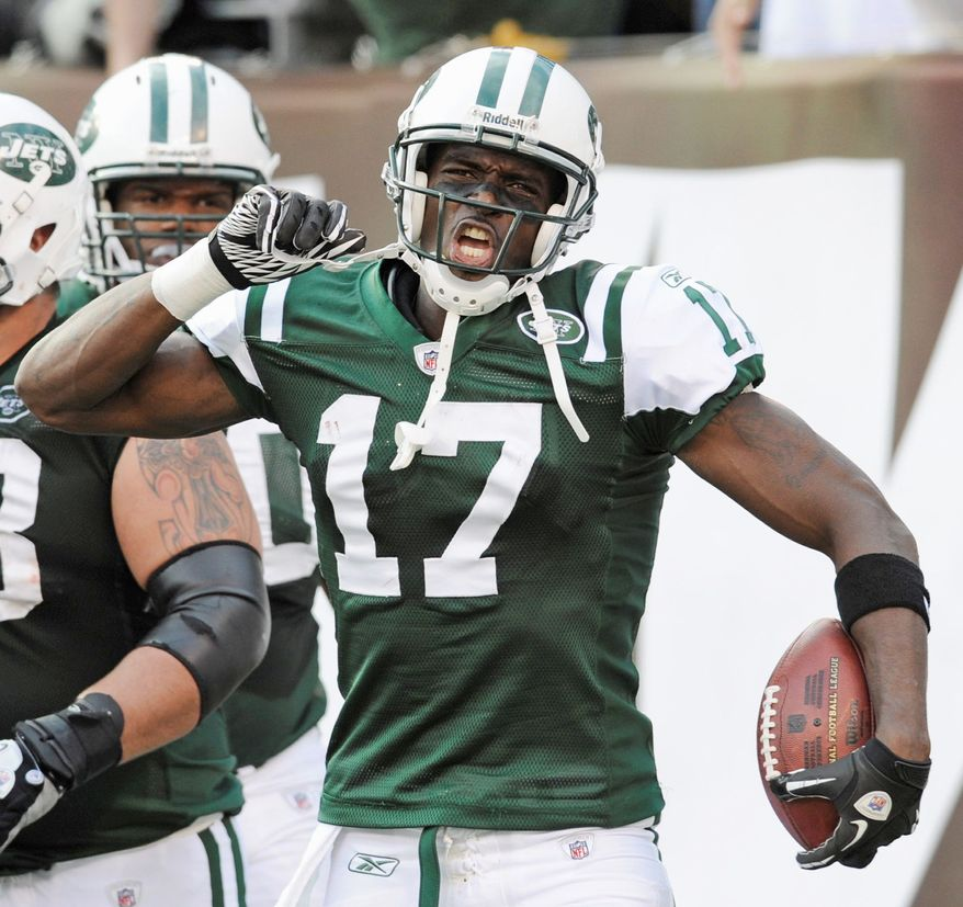 New York Jets receiver Plaxico Burress totaled just 25 yards receiving last weekend against San Diego, but he had three touchdown catches. (Associated Press)