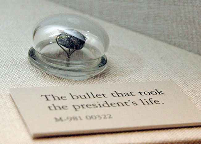 "The bullet that killed President Lincoln from the exhibit ""Visibly Human: Health and Disease in the Human Body"" at the National Museum of Health and Medicine. (National Museum of Health and Medicine)"