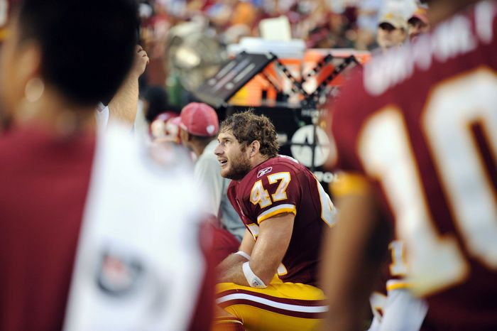 Redskins tight end Chris Cooley's season was derailed by knee and finger injuries, but he said his goal remains a Super Bowl championship wearing burgundy and gold. (Andrew Harnik/The Washington Times)