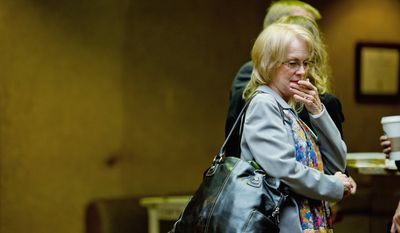 Phyllis Murray, the mother of Lululemon Athletica murder victim Jayna Murray arrives to the Montgomery County Circuit Court for the trial for the murder suspect, Brittany Norwood, Rockville, MD, Thursday, October 27, 2011. (Andrew Harnik / The Washington Times)