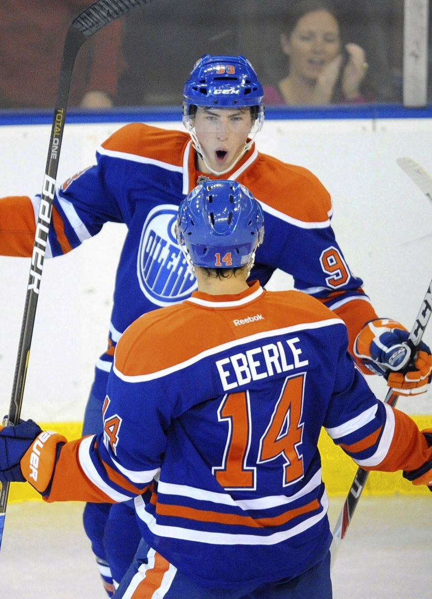 Eighteen-year-old rookie Ryan Nugent-Hopkins has five goals and three assists in eight games for the Edmonton Oilers. (AP Photo/The Canadian Press, John Ulan)