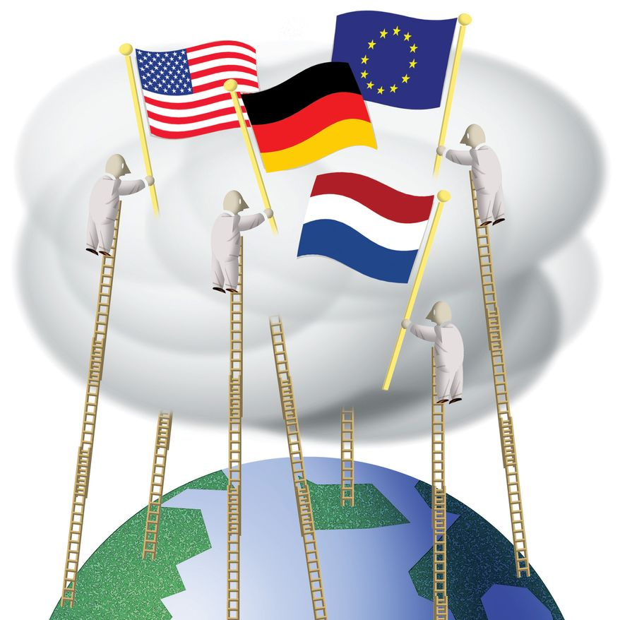 Illustration: Cloud by Alexander Hunter for The Washington Times