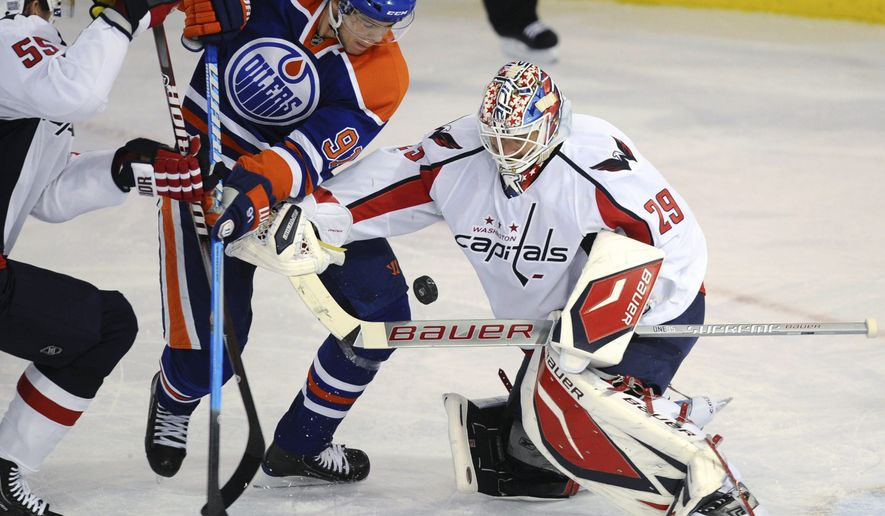Washington Capitals goalie Tomas Vokoun allowed two goals on 19 shots in the loss against the Edmonton Oilers on Thursday night. (Associated Press/The Canadian Press)