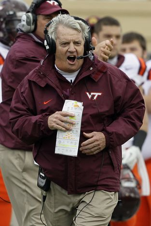 Virginia Tech coach Frank Beamer reacts during the second half against Duke in Durham, N.C., Saturday, Oct. 29, 2011. Virginia Tech won 14-10. (AP Photo/Gerry Broome)