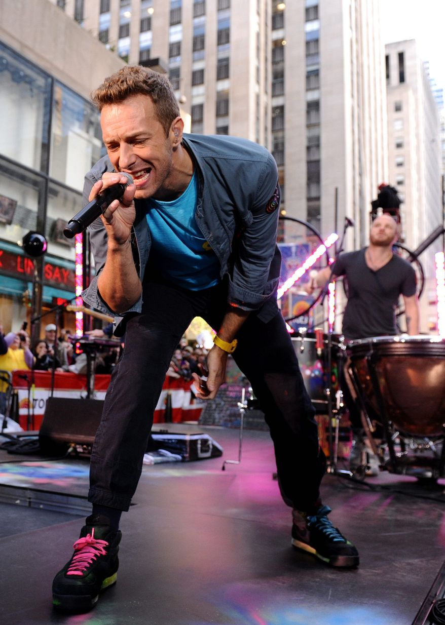 "Singer Chris Martin and Coldplay perform on the ""Today"" show on Friday in New York. (Associated Press)"