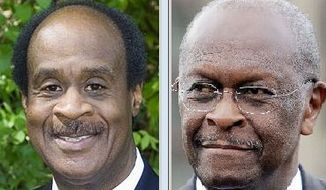 "Montgomery County Executive Isiah ""Ike"" Leggett and Republican presidential candidate Herman Cain"