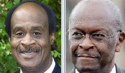"""Montgomery County Executive Isiah """"Ike"""" Leggett and Republican presidential candidate Herman Cain"""