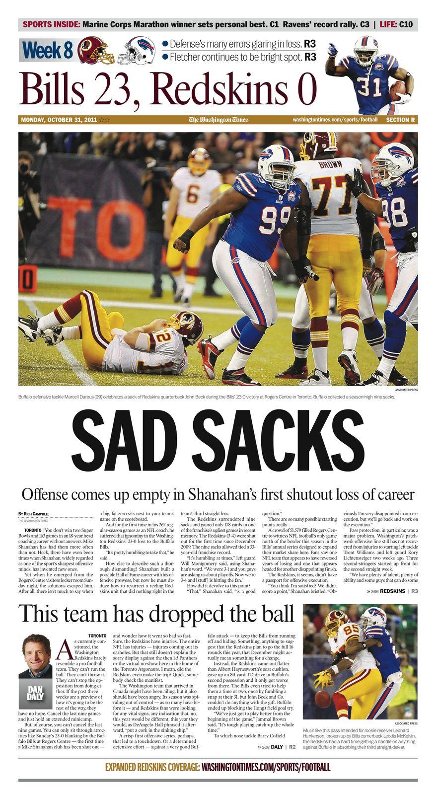 Week 8 Section: Bills 23, Redskins 0.