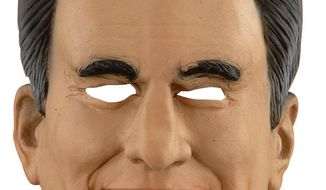 Popular among Democrats this Halloween? The Mitt Romney over-the-head vinyl mask is sold out nationwide say some sources. (Image from Costumecraze.com)