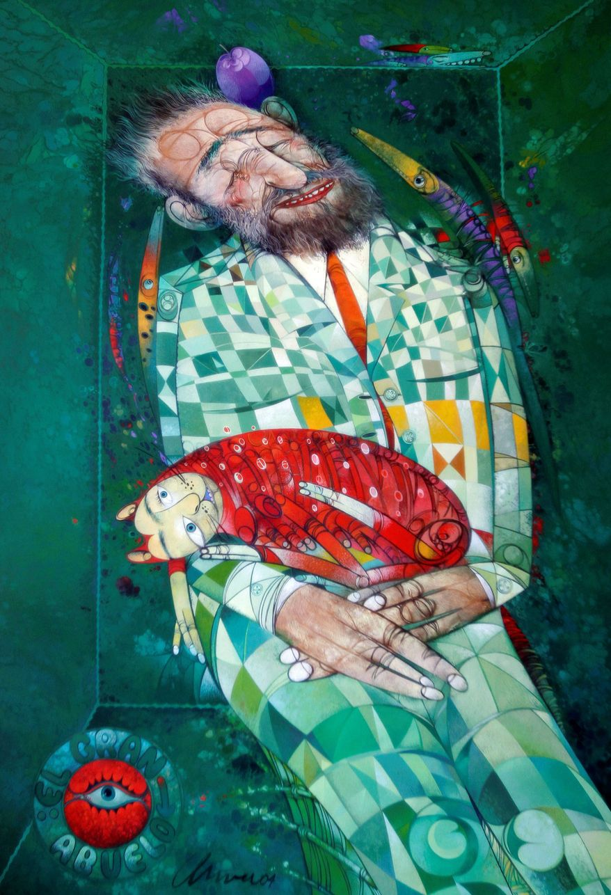 "Pedro Pablo Oliva's painting titled ""El Gran Abuelo (The Great Grandfather)"" depicts Fidel Castro. Though the artist proclaimed his loyalty to the revolution, he was abruptly expelled as a delegate to a regional assembly and accused by his parliamentary colleagues of counterrevolutionary behavior after criticizing the regime's treatment of dissidents. (Associated Press)"
