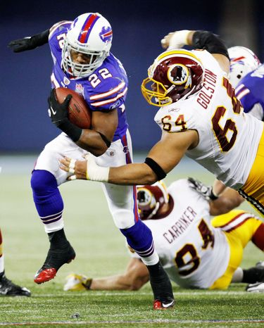 The Redskins had problems on both sides of the ball in Sunday's shutout loss. Bills running back Fred Jackson (22) gashed the defense for 194 total yards. (Associated Press)