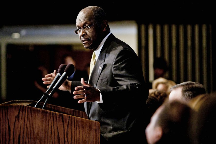 """""""I have never sexually harassed anyone,"""" GOP presidential candidate Herman Cain said during a luncheon at the National Press Club in Washington on Monday. The Republican hopeful answered questions about his 9-9-9 tax plan, restated his stance on abortion and denied allegations of sexual harassment. (T.J. Kirkpatrick/The Washington Times)"""