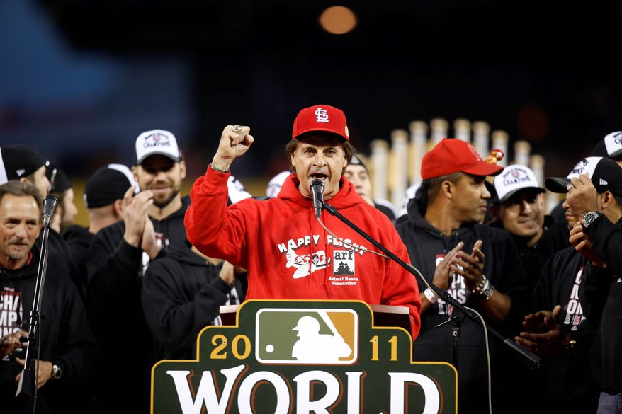 Tony La Russa spoke Sunday at a rally celebrating the Cardinals' 11th World Series championship. La Russa was manager for two of them. (Associated Press)