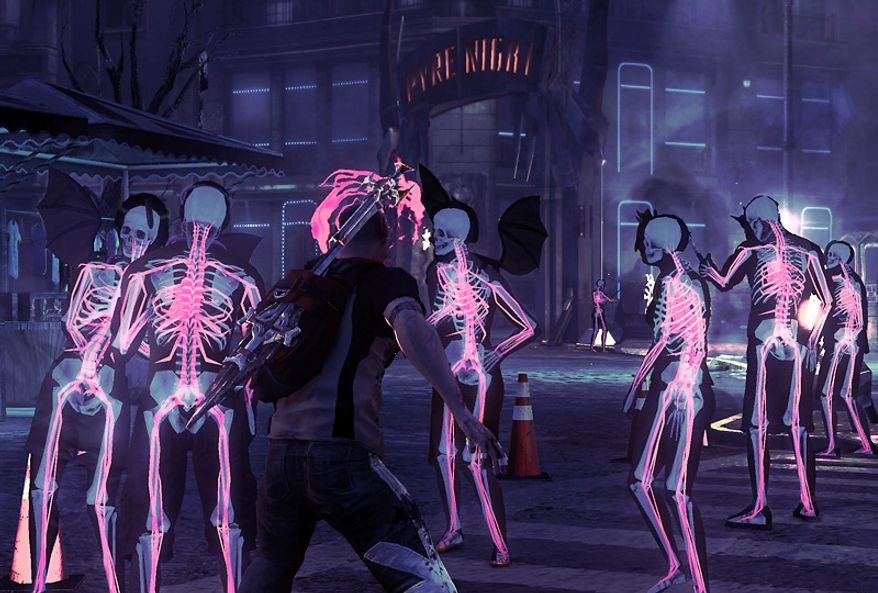 Vampire Vision helps a player spot the blood suckers in the video game download inFamous: Festival of Blood.