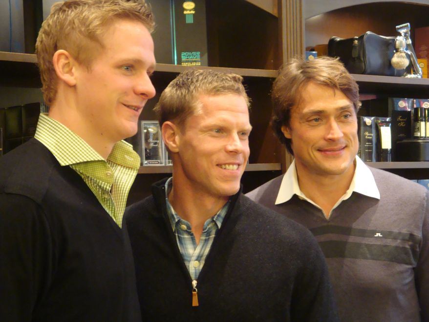 Corey Perry, Saku Koivu and Teemu Selanne post-shave. (Jess Milcetich)
