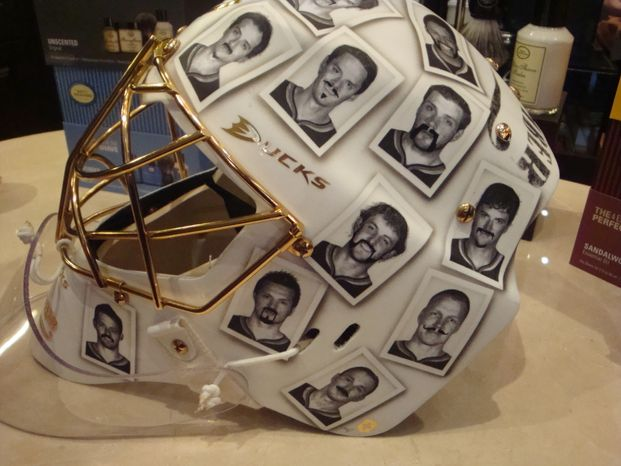 Jonas Hiller's Movember mask. (Jess Milcetich)