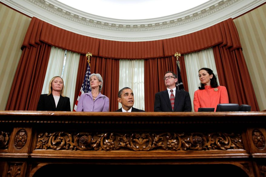 President Obama speaks in the Oval Office before signing an executive order Monday directing the Food and Drug Administration to take steps to reduce drug shortages. From left are pharmacy manager Bonnie Frawley with Brigham and Women's Hospital in Boston, Health and Human Services Secretary Kathleen Sebelius, cancer patient Jay Cuetara from San Francisco and FDA Commissioner Margaret Hamburg. (Associated Press)