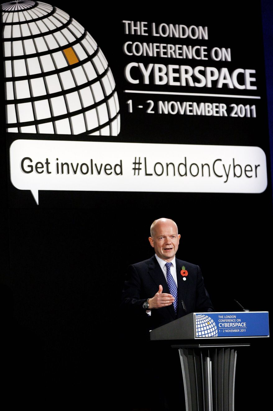 British Foreign Secretary William Hague speaks Tuesday at the London Conference on Cyberspace. U.S. and British officials argued during the event against global Internet regulation. (Associated Press)