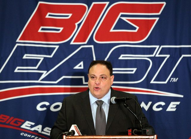 **FILE** Big East commissioner John Marinatto speaks Aug. 2, 2011, to reporters during Big East football media day, in Newport, R.I. (Associated Press)