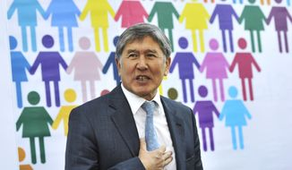 ** FILE ** President-elect Almazbek Atambayev speaks to the press in Bishkek, Kyrgyzstan, on Tuesday, Nov. 1, 2011. (AP Photo/Vladimir voronin)