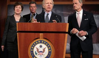 A bipartisan group of senators including (from the left) Susan M. Collins, Scott Brown, Joe Lieberman and Thomas R. Carper explain their bill to provide savings for the U.S. Postal Service, which would be used for employee buyouts, and delay for two years the proposed elimination of home delivery on Saturdays. (Associated Press)