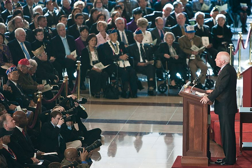 Sen. John McCain (R-Ariz.) speaks to an audience of Japanese-American veterans during a Congressional Gold Medal ceremony honoring the service of members in the 100th Infantry Battalion, 442nd Regimental Combat Team, and the Military Intelligence Service in the Capitol Visitors Center in Washington, D.C. on Nov. 2, 2011. (T.J. Kirkpatrick/ The Washington Times)