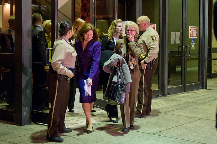 Phyllis Murray (right), the mother of murder victim Jayna Murray, gets emotional as she exits the Montgomery County Circuit Court in Rockville, Md., on Nov. 2, 2011, after Brittany Norwood, a co-worker of her daughter, was found guilty of the killing. (Andrew Harnik/The Washington Times)