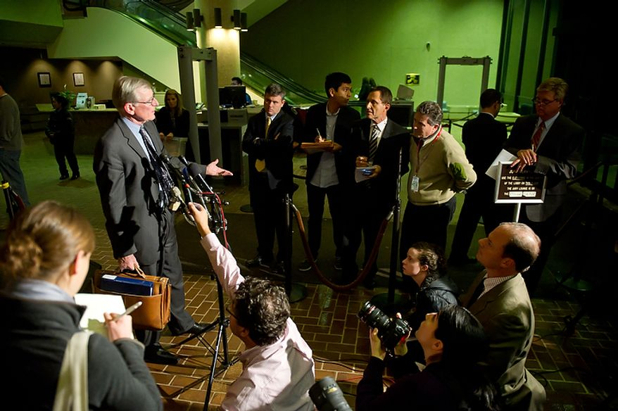 Defense attorney Douglas Wood speaks to reporters at the Montgomery County Circuit Court in Rockville, Md., on Nov. 2, 2011, after Lululemon Athletica employee Brittany Norwood is found guilty of killing co-worker Jayna Murray. (Andrew Harnik/The Washington Times)
