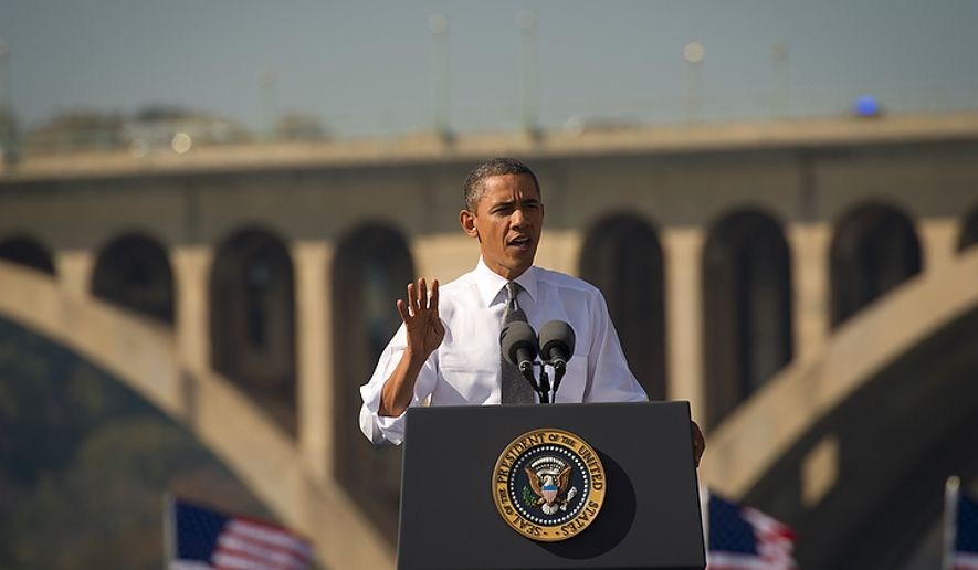 With the Key Bridge and Potomac River as his backdrop, President Obama offers remarks urging Congress to pass the infrastructure part of the American Jobs Act, in front of a crowd that included ironworkers and steamfitters, at Georgetown Waterfront Park in Washington on Wednesday, Nov. 2, 2011. (Rod Lamkey Jr./The Washington Times)