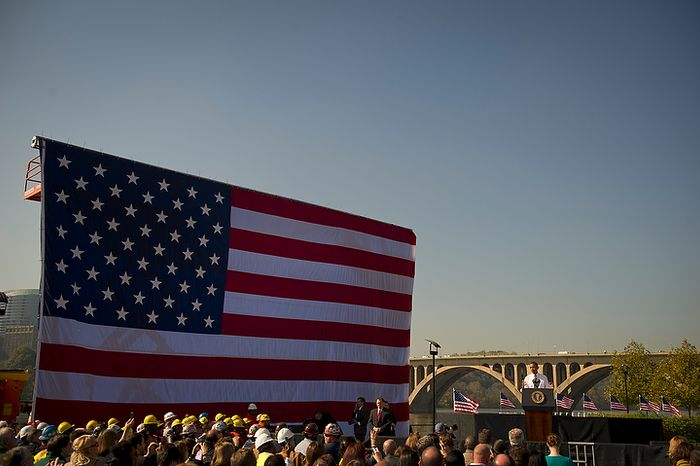 With the Key Bridge and Potomac River as his backdrop, President Barack Obama offers remarks urging Congress to pass the infrastructure part of the American Jobs Act, in front of a crowd which included iron workers and steam fitters, at Georgetown Waterfront Park in Washington, D.C., Wednesday, Nov. 2, 2011. (Photo/Rod Lamkey Jr./The Washington Times)