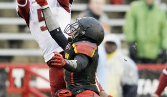 Maryland receiver Quintin McCree (bottom) has 23 catches for 265 yards heading into Saturday's home game against Virginia. (Associated Press)