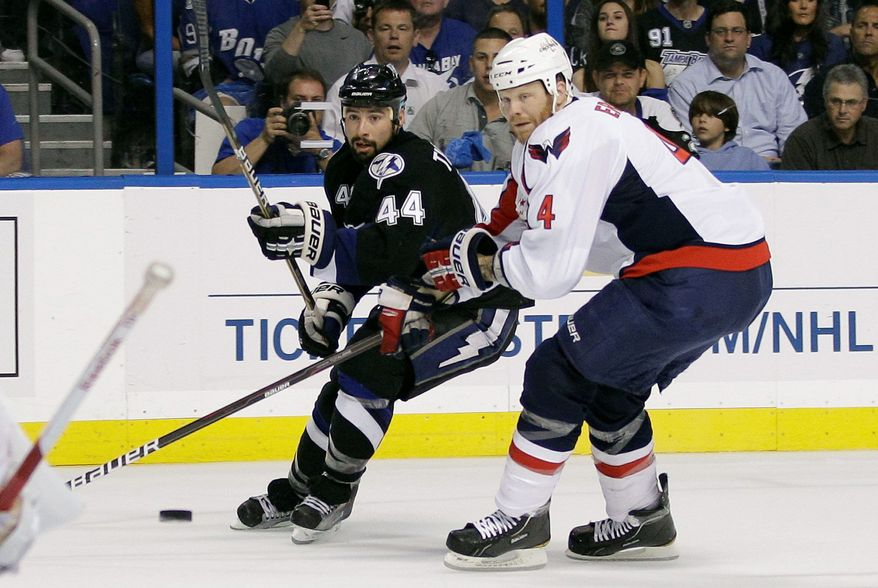 The return of John Erskine (above) helps the Capitals' defense while Mike Green remains sidelined with an ankle injury. (Associated Press)