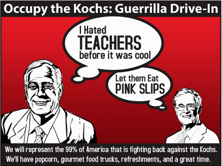 "Health Care for America Now and 11 other progressive groups hope to disrupt Americans for Prosperity's ""Defending the American Dream Summit"" with ""Occupy the Kochs' Guerrilla Drive-In"" - an outdoor film festival staged just outside the event. (Health Care for America Now)"