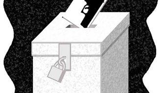 Illustration: Guns at the ballot box by Alexander Hunter for The Washington Times