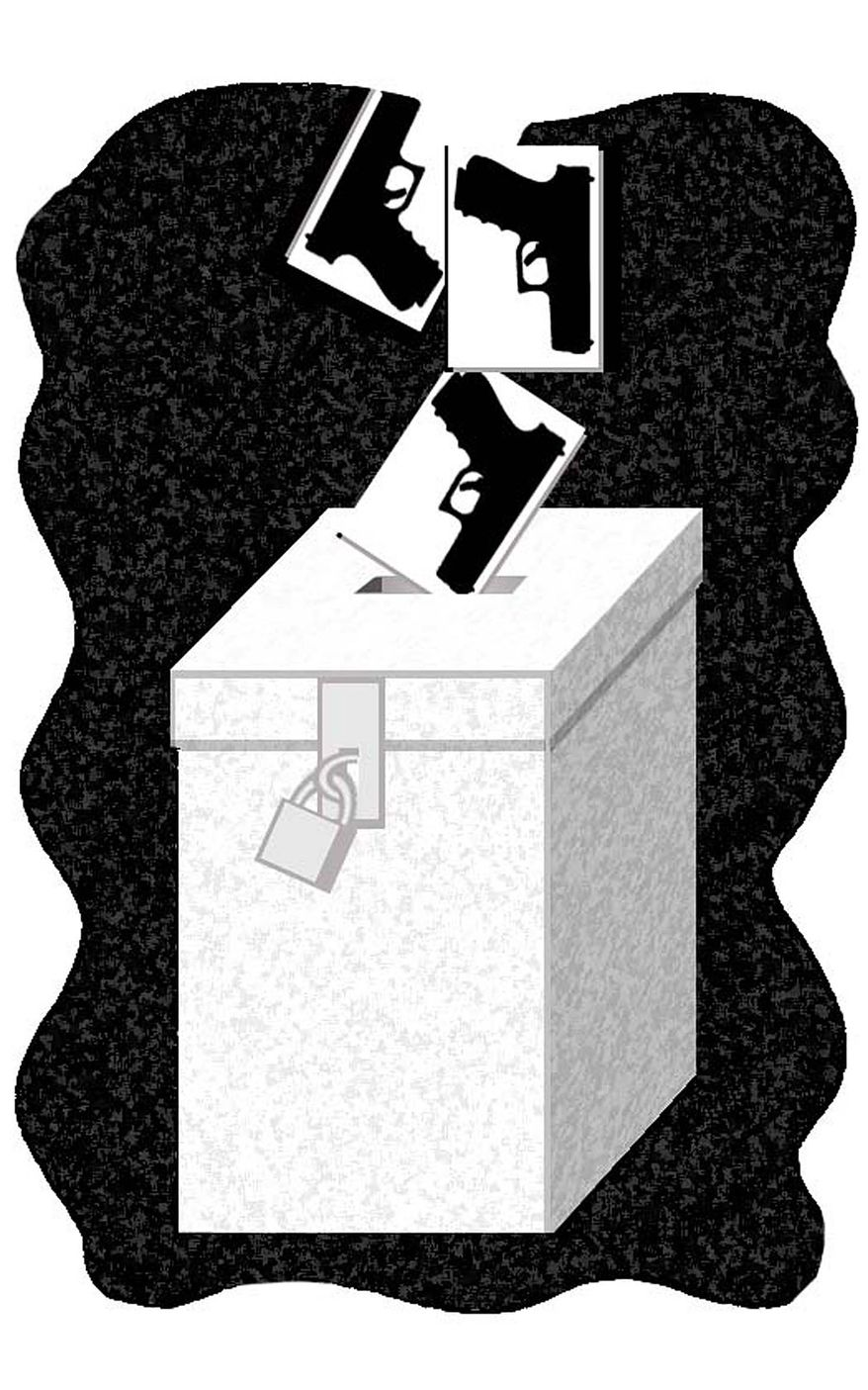 Illustration: Guns at the ballot box by Alexander Hunter for The Washington Times